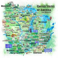 USA Midwest States Travel Map MN WI MI IA KY IL IN