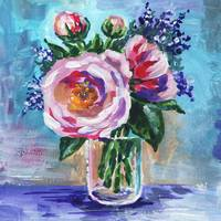 Gentle Impressionistic Flowers Bouquet in The Vase
