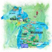 USA_Michigan_Illustrated_Travel_Poster_Favorite_Ma