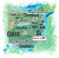 USA Ohio Illustrated Travel Poster Favorite Map