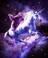 Space Sloth Riding On Unicorn