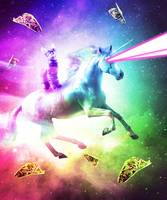 Space Cat Riding Unicorn - Laser, Tacos And Rainbo