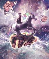 Space Cat Riding Unicorn - Pizza & Taco
