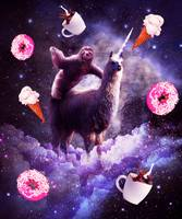 Outer Space Sloth Riding Llama Unicorn - Donut