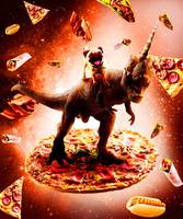 Outer Space Pug Riding Dinosaur Unicorn - Pizza