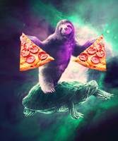 Funny Space Sloth With Pizza Riding On Turtle
