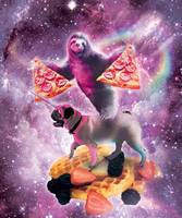 Space Pizza Sloth On Pug Unicorn On Waffles
