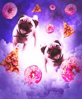 Pugs In The Clouds With Doughnut And Pizza