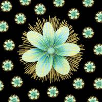 Gold Blue Black Flowers Floral Pattern