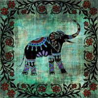 Decorated Elephant Rustic Floral Design