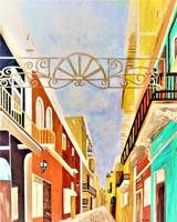 Impressionist Old San Juan Painting in Cinnabar