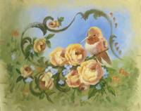 Bird Paintings Rufus Hummingbird with Roses and Sc