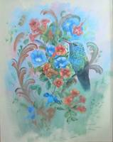 Bird Paintings Blue Hummingbird with Morning Glori