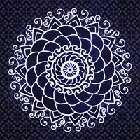 Dark Blue & White Patterned Curly Mandala