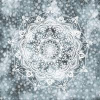 Mid Winter Dream  Glowing White Grey Mandala