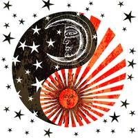 Sun Moon & Stars Yin Yang Distressed Red & Black
