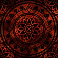 Burnt Orange & Black Patterned Flower Mandala
