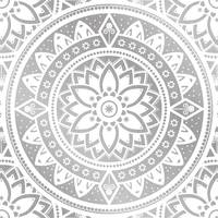 Silver & White Patterned Flower Mandala