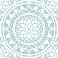 Duck Egg Blue & White Patterned Flower Mandala