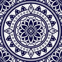 Blue & White Patterned Flower Mandala