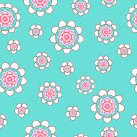 Mandala Flowers Pattern Blue Pink