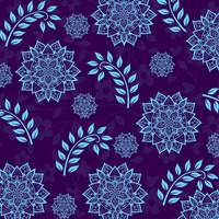 Mandalas & Leaves Pattern Blue Purple