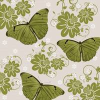 Green Butterflies & Flowers