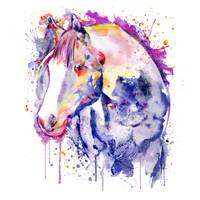 Horse Head Watercolor Portrait