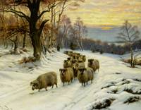 Wright Barker - A Shepherd and his Flock on a Path