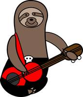 Sloth Playing Bass Cute
