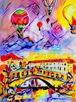 Balloons over Rialto Bridge Venice Abstract