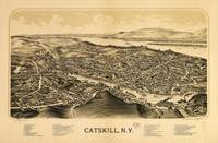 Aerial View of Catskill, New York (1889)