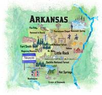 USA Arkansas State Travel Poster Map with Tourist