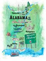 USA Alabama State Travel Poster Map with Tourist H