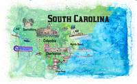 USA South Carolina State Travel Poster Map with To