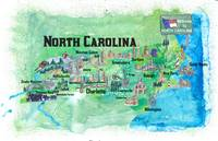 USA North Carolina State Travel Poster Map with To