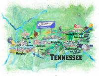 USA Tennessee State Travel Poster Map with Tourist