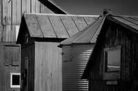 Four Farm Buildings Black and White