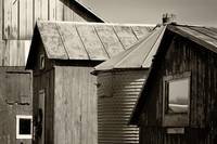 Four Farm Buildings Sepia