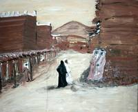 A painting of the clay village of Saudi Arabia