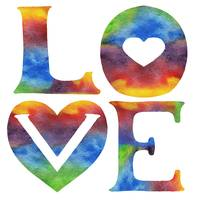 LOVE Sign Watercolor Word And Letters Hearts