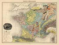 Vintage Geology Map of France (1892)