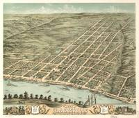 Vintage Pictorial Map of Clarksville TN (1870)