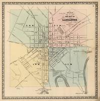 Vintage Map of Lancaster PA (1864)