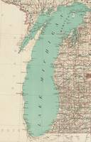 Vintage Map of Lake Michigan (1888)