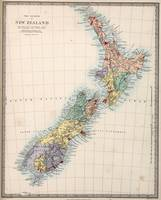 Vintage Map of New Zealand (1865)