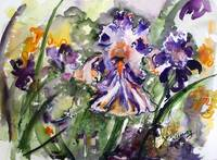 Bearded Irises Blue and Purple Watercolors
