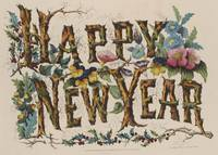 Vintage Happy New Year Illustration (1876)