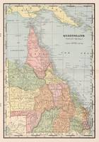 Vintage Map of Queensland Australia (1901)
