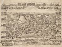 Vintage Pictorial Map of South Framingham MA (1898